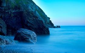 Обои скалы, камни, горы, небо, море