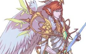 Обои крылья, меч, мужчина, доспехи
