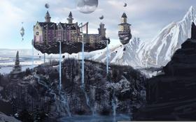 Обои горы, art, island, hotel, castle
