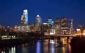 Картинка мост, lights, огни, река, здания, Филадельфия, river