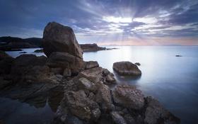 Картинка небо, берег, побережье, вечер, Греция