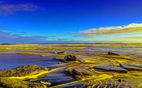 Картинка море, небо, облака, камни, берег, отлив