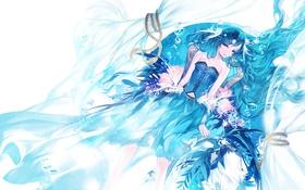 Картинка взгляд, вода, девушка, фон, слезы, лежит, art