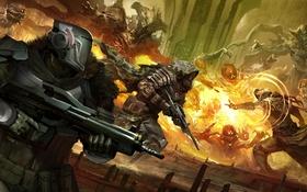 Обои soldiers, armor, explosions, futuristic, Destiny
