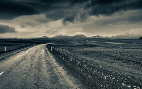 Картинка дорога, поле, пейзаж, горы