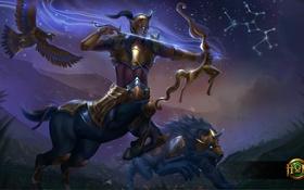 Обои орел, лук, стрела, heroes of newerth, Sagittarius, Emerald Warden