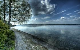 Обои облака, деревья, озеро, Швейцария, hdr, набережная, Berlingen