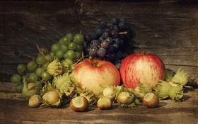 Обои яблоки, виноград, лещина