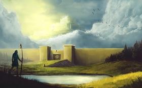Обои небо, озеро, замок, небеса, человек, ворота, врата