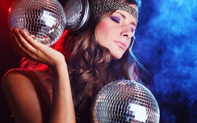 Картинка Наушники, Девушка, Disco Ball, Girl, Музыка, Дискобол, Music