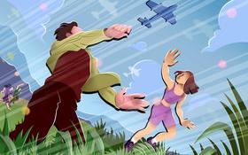 Обои небо, полет, радость, горы, самолет, люди, рисунок