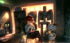 Картинка свет, стол, комната, роботы, окно, чаепитие, Девочка