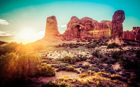 Обои desert, mountains, rocks, Sunrise