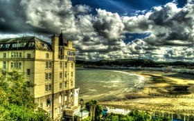 Обои Llandudno Wales, Облака, Великобритания, Побережье, Дома, Город, фото