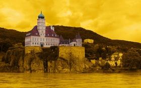 Обои желтый, город, фото, фон, замок, Австрия, Schoenbuehel
