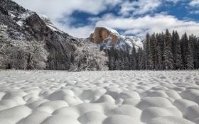 Картинка Yosemite National Park, Half Dome, Snow Cottonballs