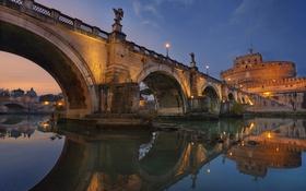 Обои река, Рим, Италия, Тибр, мост Святого Ангела, Замок Святого Ангела