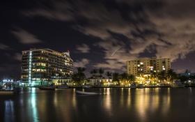 Обои ночь, яхта, florida, майами, флорида, miami