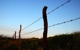 Обои луна, поля, небо, забор, фермы