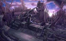 Картинка девушка, металл, сооружение, арт, vocaloid, hatsune miku, установка