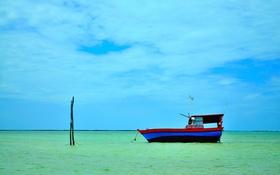 Обои небо, облака, лодка, горизонт, залив, Бразилия, Мараньян