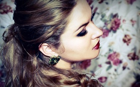 Картинка девушка, ресницы, волосы, серьги, брюнетка, красиво, профиль