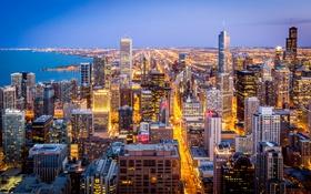 Обои небо, огни, озеро, дома, вечер, Чикаго, США