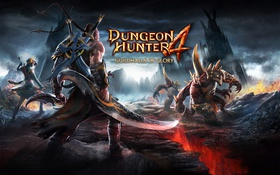 Обои Dungeon Hunter 4, скалы, трещина, воин, горы, башни, оружие