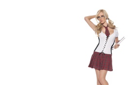 Картинка Девушка, Белый, Очки, Блондинка, Книга, Лицо, Фон