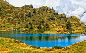Обои трава, деревья, горы, озеро