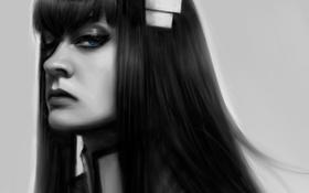 Картинка девушка, лицо, арт, черно-белое, монохромное, Mochifin, kill la kill