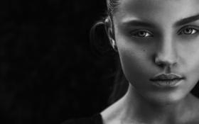 Картинка взгляд, портрет, white, губки, Black, beauty