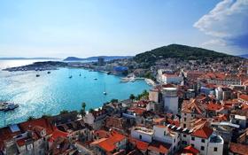 Картинка побережье, гора, дома, Хорватия, Croatia, горы.