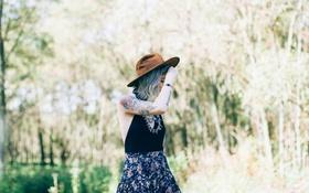 Картинка девушка, шляпа, тату, татуировки