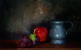 Обои яблоко, гроздь, кувшин, натюрморт, Juicy grapes