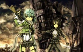 Картинка небо, облака, оружие, девушки, аниме, арт, sword art online