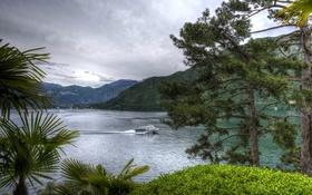 Обои зелень, деревья, горы, ветки, озеро, hdr, катер