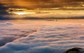 Картинка туман, небо, закат