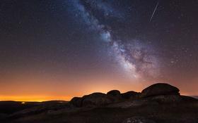 Обои Испания, зарево, Млечный Путь, ночь, небо, Ла-Корунья, звезды