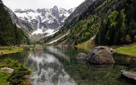 Картинка озеро, снег, камни, горы