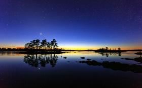 Обои небо, вода, звезды, деревья, ночь, Швеция