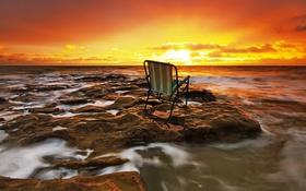 Обои море, пейзаж, закат, кресло