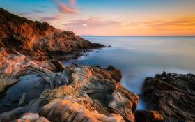 Обои закат, камни, горизонт, небо, море, побережье, Calafuria