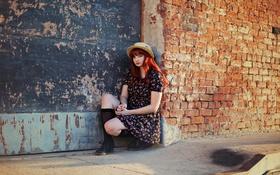 Картинка девушка, фон, стена