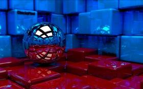 Обои кубы, шар, art