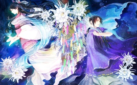 Картинка листья, цветы, лотос, парень, богиня, Altair, Orihime