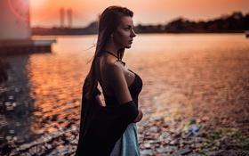 Картинка грудь, профиль, губки, Sunset