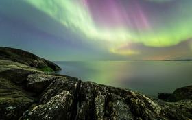 Обои ночь, Финляндия, северное сияние, небо, скалы, звезды, камни