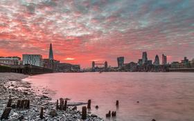 Картинка закат, город, Лондон
