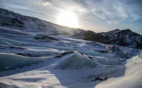 Обои лед, зима, солнце, снег, пейзаж, горы, льдины